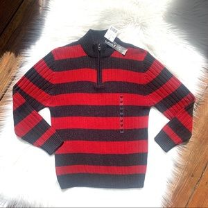 NWT Boys Red & Black Striped 1/4 Zip Sweater Sz M